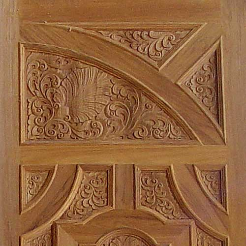 Carving on wooden doors