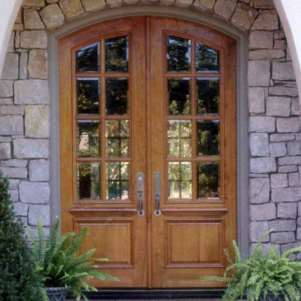 Arched teak double french front door with frame paul san for Small double front doors