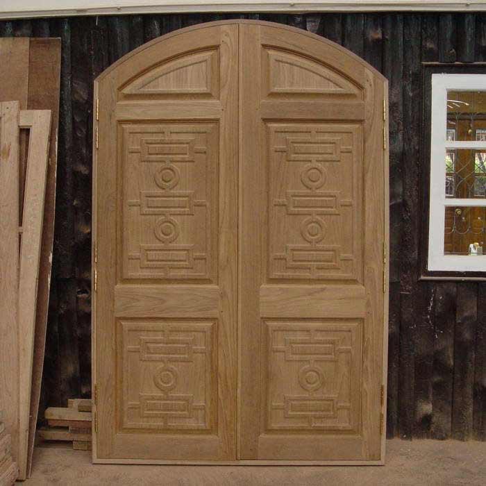 Double door exterior wood door round top double door for Double door front door designs