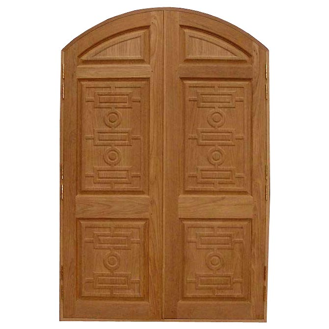 Double door exterior wood door round top double door for Double door wooden door