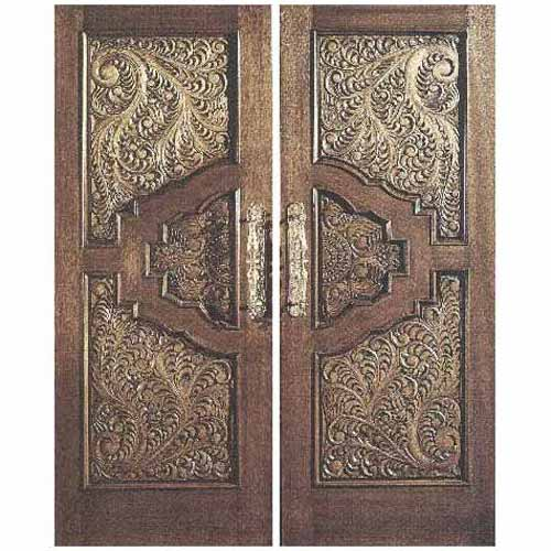 Teak Double Door Without Frame Middle East Carving Design